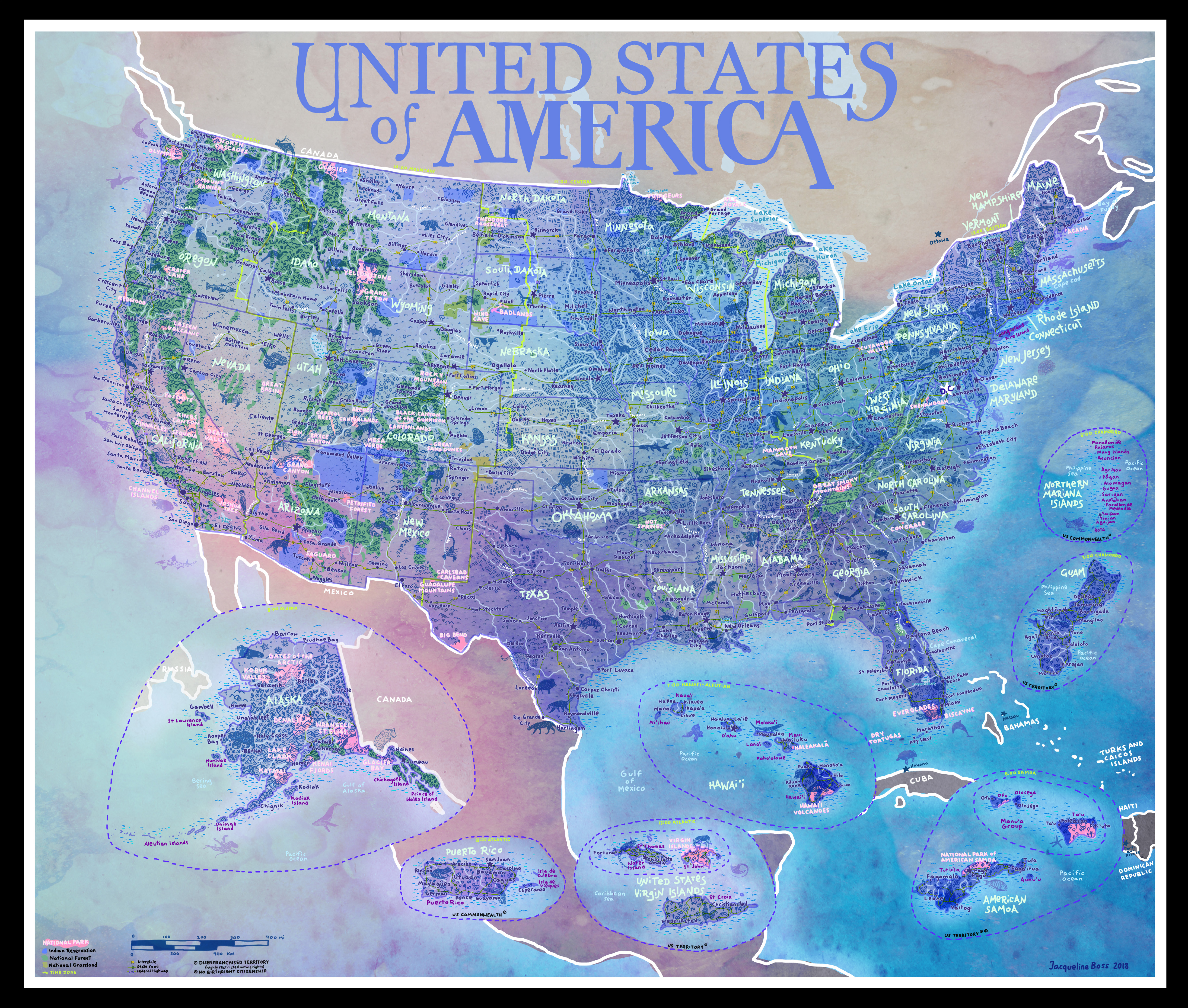 US National Parks Adventure Map Highlights America\'s ...